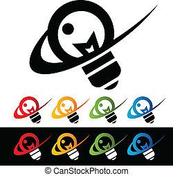 iconos, swoosh, bombilla, luz