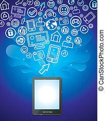 iconos, tableta, brillante, social, medios, pc