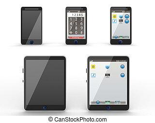 iconos, tableta, teléfono móvil, computadora