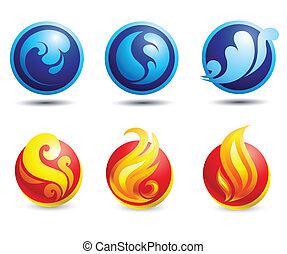 iconos, tela, agua, fuego