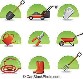 iconos, tela, herramientas de jardín