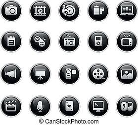 iconos, tela, multimedia