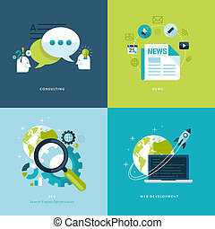 iconos, tela, servicios, plano