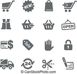iconos, tela, tienda