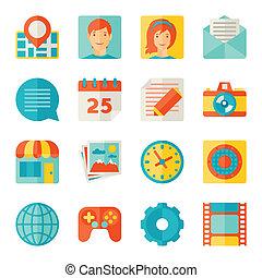 iconos, tela, y, móvil, aplicaciones, en, plano, diseño,...