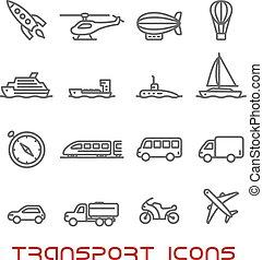 iconos, transporte, conjunto, línea, delgado