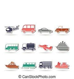 iconos, transporte, viaje