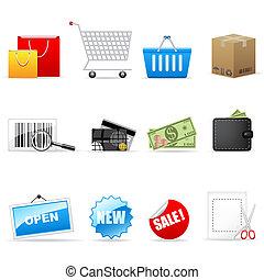 iconos, vector, compras