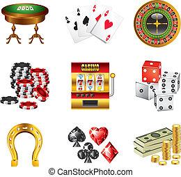 iconos, vector, conjunto, casino