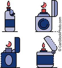 iconos, vector, conjunto, encendedor, plano, cigarrillo