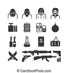 iconos, vector, conjunto, terrorista, design.