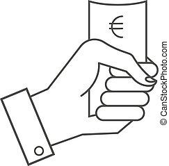iconos, vector, dinero., llevar a cabo la mano