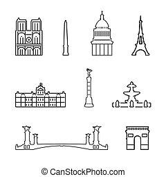 iconos, vector, francia
