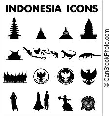 iconos, vector, indonesia