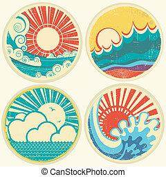 iconos, vendimia, ilustración, vector, mar, sol, vista...