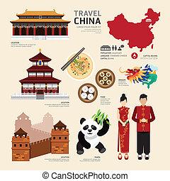 iconos, viaje, concept., china, vector, diseño, plano