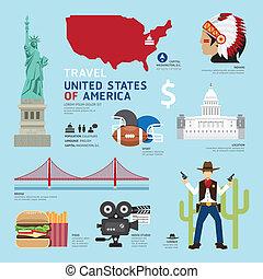 iconos, viaje, concept., estados unidos de américa, vector, ...