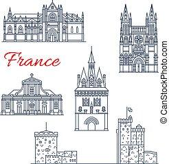 iconos, viaje, francia, vector, arquitectura, burdeos