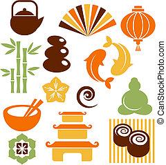 iconos, zen, conjunto, orinental