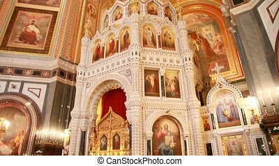 Iconostasis and interior of main dome in Christ the Savior...