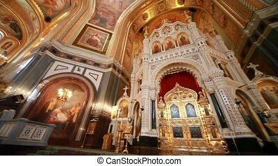 Iconostasis illustration of biblical characters in Christ Savior Cathedral