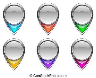 icons., épingle, carte, navigation, icon., emplacement, indicateur