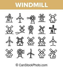 icons, коллекция, задавать, здание, вектор, ветряная мельница
