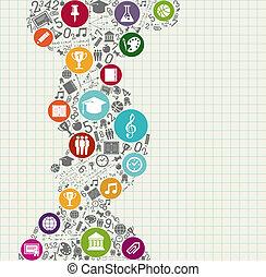 icons., בית ספר, חינוך, השקע, צבעוני