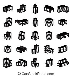 icons., イラスト, ベクトル, 建物