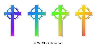 icons., カラフルである, セット, キリスト教徒, 交差点