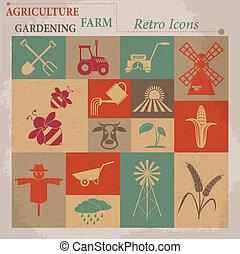 icons., ベクトル, イラスト, 農業, 農業, レトロ