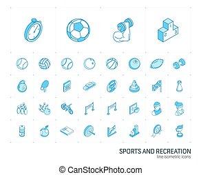icons., ベクトル, 線, スポーツ, 3d, 等大, フィットネス
