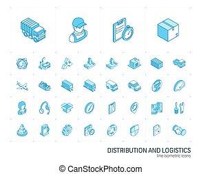 icons., ベクトル, 線, ロジスティックである, 分配, 3d, 等大