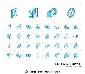icons., ベクトル, 線, 旅行観光, 3d, 等大