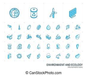 icons., ベクトル, 線, 環境, 3d, 等大, エコロジー