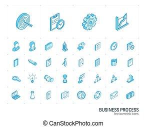 icons., ベクトル, 線, 3d, 管理, ビジネス, 等大