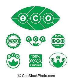 icons., ラベル, ステッカー, eco, 味方, タグ, プロダクト