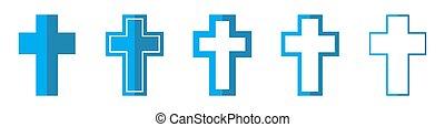 icons., 交差点, キリスト教徒, ベクトル, illustration.