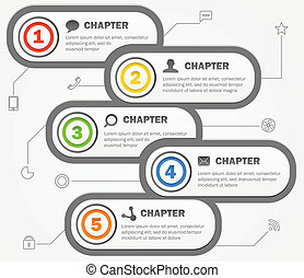 icons., 内容, ベクトル, デザイン, テンプレート, infographics, 旗