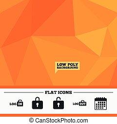 icons., 印, logout, locker., ログイン, icon.