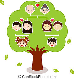 icons:, 家族, ベクトル, 木