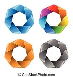 icons., 抽象的, セット, 多角形, カラフルである