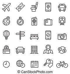 icons., 線, illustrations., 予約, 旅行, ベクトル