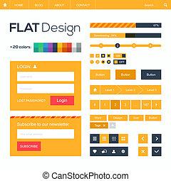 icons., 要素, 網の設計, モビール, 平ら