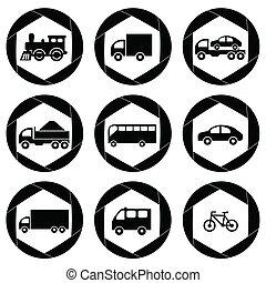 icons., 輸送, モノクロである