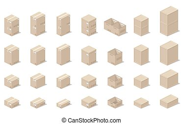 Illustration depicting a set of boxes, cartons, boxes in the 3D projection on a white background in a realistic form.