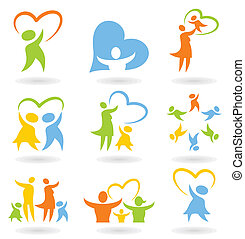 Icons a family - Collection of icons on a family theme. A ...