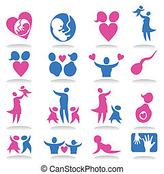 Icons a family3 - Collection of icons on a family theme. A...