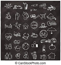 Icons about insurance types, hand-drawn