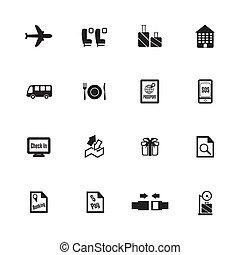 icons., aeroporto, vettore, linea aerea, illustrazione